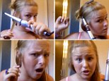 Hysterical video of girl burning her hair off during curling tutorial