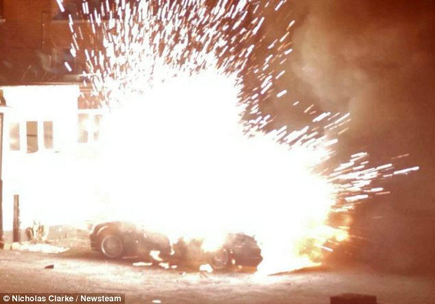 Up in smoke: The Jaguar car dramatically exploded, with flames and sparks shooting from it