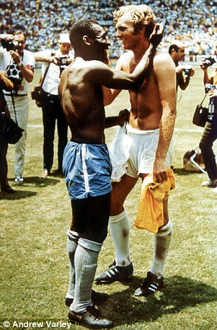 Two greats: Moore and Pele swap shirts after the game in 1970