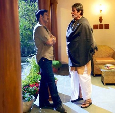 Amitabh and Ajay Devgn in a still from Satyagraha