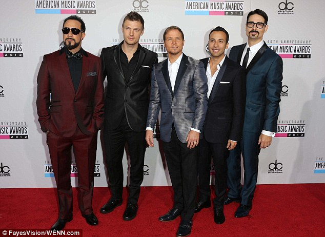 New album: The Backstreet Boys are working on a new album due out later this year; Nick is pictured here with his mates A.J. McLean, Brian Littrell, Howie Dorough and Kevin Richardson at the American Music Awards