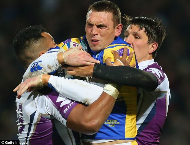 Shackled: Golden boot winner Kevin Sinfield (centre) endured a frustrating night for the Rhinos