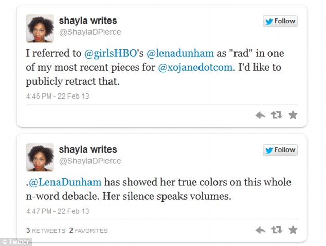 Looking for answers: Writer Shayla Pierce tweeted her disapproval for Lena, whom she formerly held in high regard