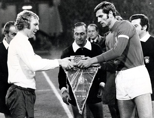 End of an era: Moore's 108th cap came in a 1-0 defeat to Italy in November 1973