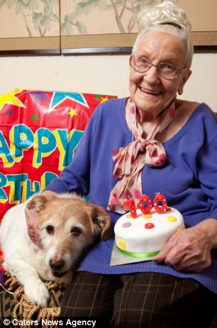 Daisy, pictured with Mr Barsby-Finch's mother Beryl celebrating the milestone birthday