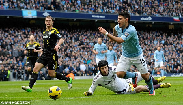 Close call: Sergio Aguero rounded Cech but was unable to finish the chance as the ball ran out of play