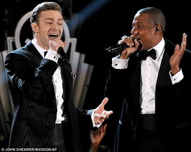 New collaborators: Justin and Jay-Z performed at the 55th annual Grammy Awards in Los Angeles last month