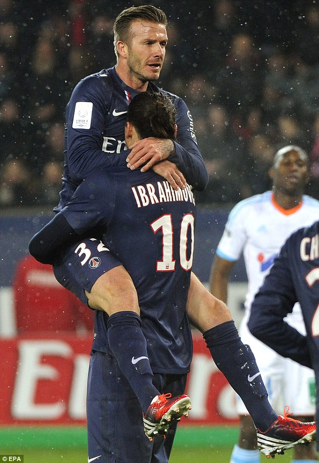 Getting along then: David was a triumph, of course, during his debut game and was congratulated by his new team mates
