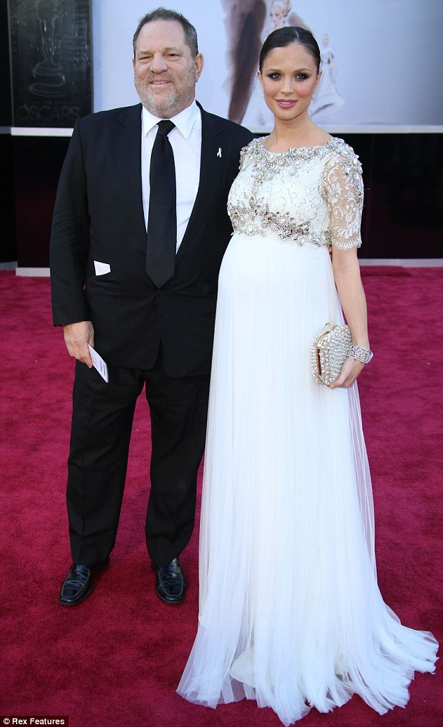 Pregnancy glow: Marchesa designer Georgina Chapman looked stunning at Sunday night's Oscars as she dressed her eight-month bump in a crisp white design