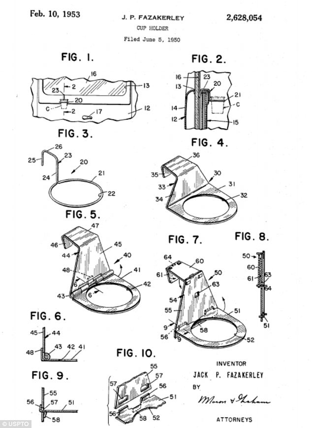 Seems like a good idea: These diagrams are from Jack Fazakerley's original patent for a car cup holder. Filed in 1950, it took the automobile industry more than 30 years to include holders as standard in their products