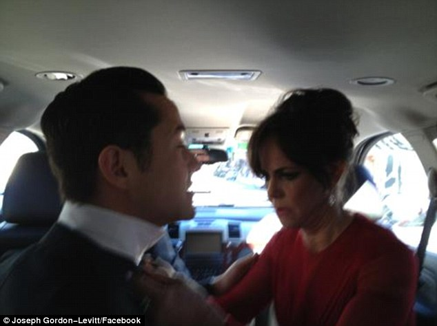 Facebook post: Before making her dramatic red carpet entrance, Sally was photographed fixing her Lincoln co-star Joseph Gordon-Levitt's bow tie in the limo