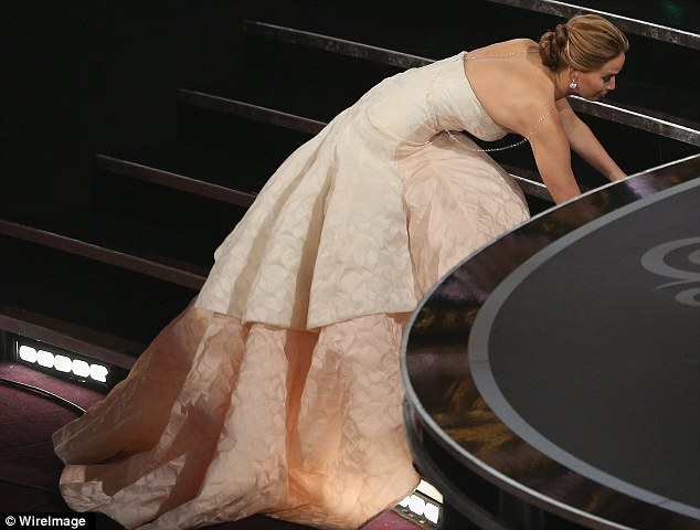 Accidents happen: Jennifer was so pleased about her win that her fall hardly mattered