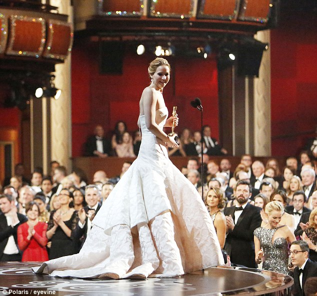 Quick recovery: Jennifer composed herself to give her Best Actress acceptance speech