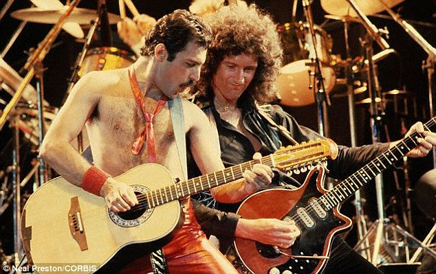 Success: Freddie Mercury's band, which included celebrated guitarist Brian May, sold 300million records and the lead singer was a worldwide icon