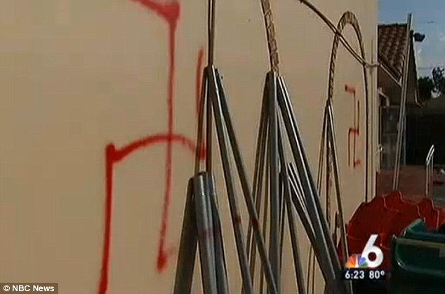Hate: Little Leapers Childcare center in Fort Lauderdale, Florida, was targeted by yobs at the weekend. This image shows the large swastikas on the walls