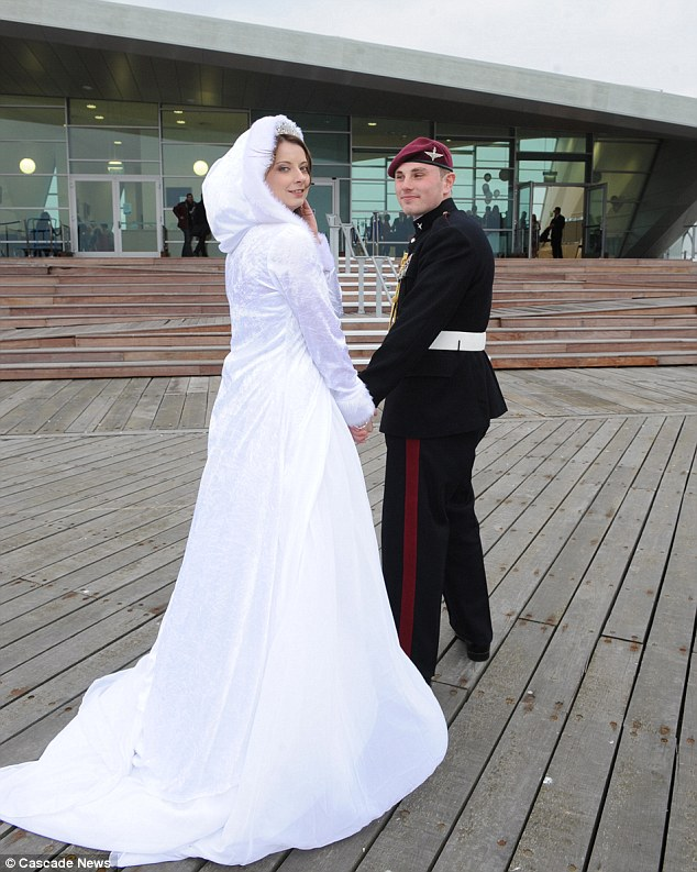 Romantic: The couple had their first kiss on the iconic structure so it was an apt place for them to tie the knot