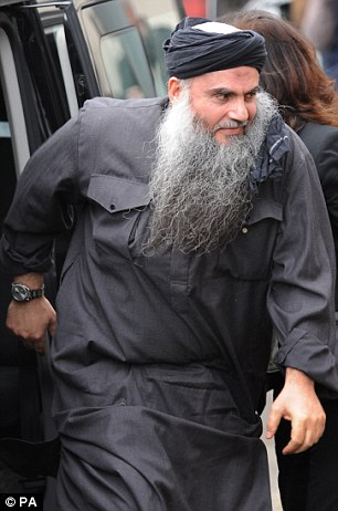 Court case: The family of Abu Qatada, pictured, have won an injunction preventing protesters from staging a demonstration within 500 metres of their London home