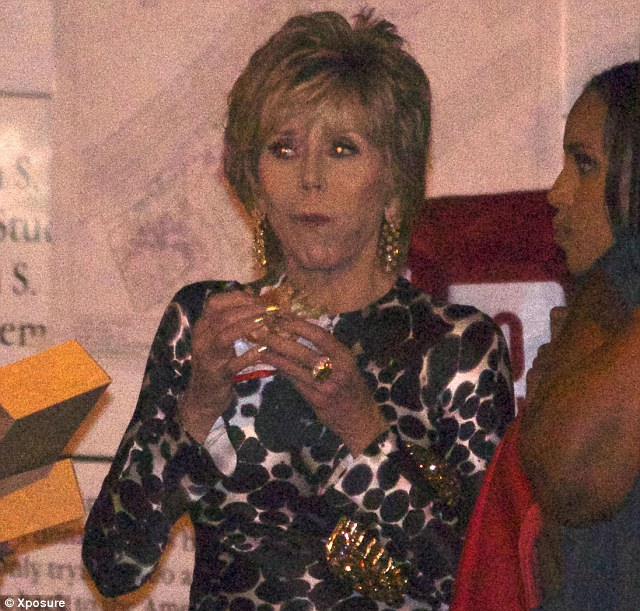 Fast food: Jane Fonda was seen eating a burger after the Vanity Fair post-Oscars party on Sunday night