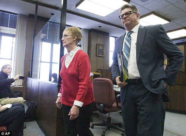 Bargain: Ruby Klokow, left, leaves court with attorney Kirk Obear on Monday following a hearing in which she pleaded no contest to second-degree murder as part of a plea deal reached with prosecutors