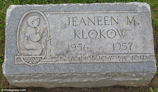 Infant grave: Klokow told detectives she grabbed the 6-month-old child and threw her toward the couch. The baby, she said, let out a 'different kind of cry' and her eyes looked strange, according to a criminal complaint