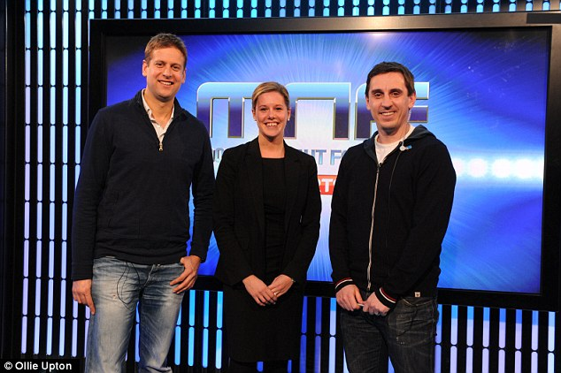 In good company: Ed Chamberlin (left) welcomed Sportsmail's Laura Williamson to Monday Night Football with Gary Neville (right)
