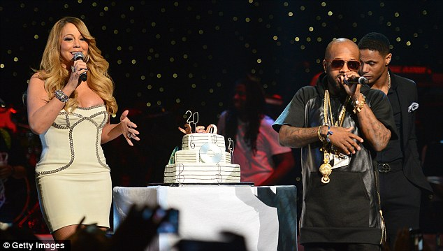 Closing the show: She finished the bash by singing with Dupri and bringing out a 20th birthday cake to him