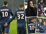 David Beckham and Zlatan Ibrahimovic get touchy feely as Posh looks on from the stands