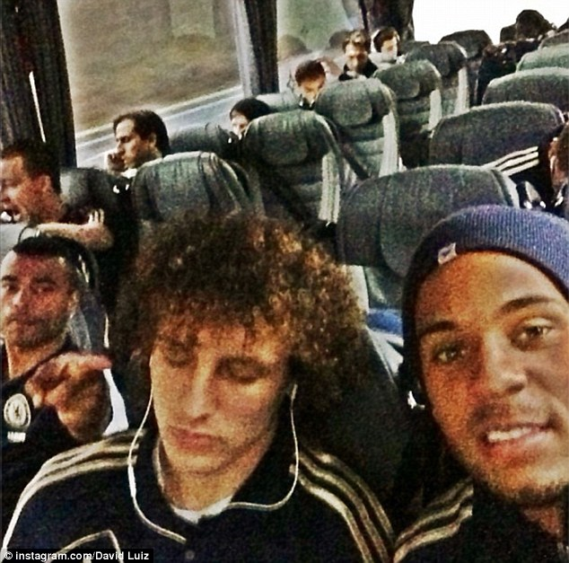 David Luiz Instagram picture of Chelsea coach journey to Middlesbrough