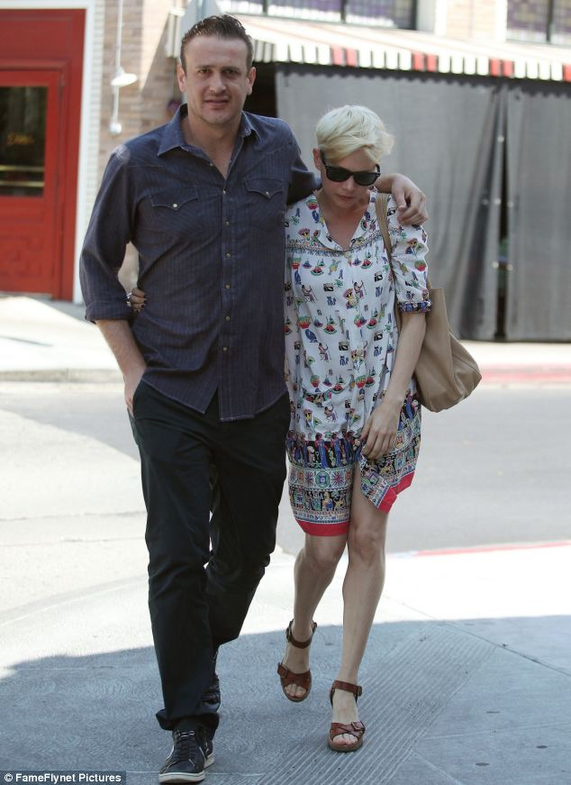 It is over: Michelle and Jason, seen here in Los Feliz, California, in August, are said to have split due to struggling with the long-distance aspect of their relationship