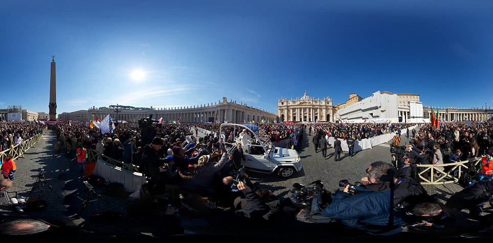 Panoramic: Pope Benedict XVI, who is the first Pope to retire since 1415, attended his last weekly public audience before stepping down tomorrow