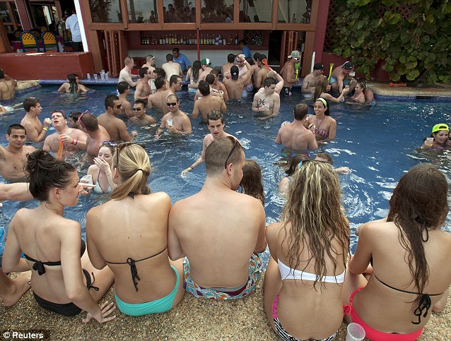 Party by the pool: The resort's hotels are overrun by Spring Breakers - typically in March - but some colleges assign the week off in February