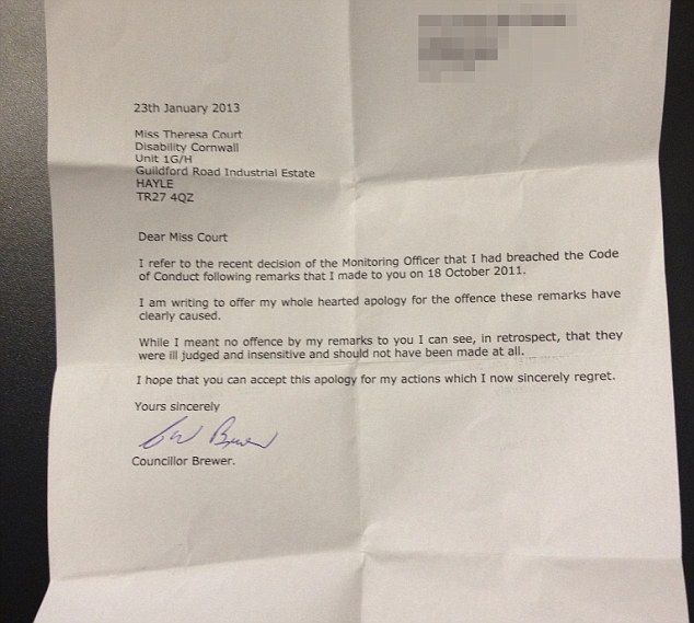 Mr Brewer's apology letter in which he acknowledges his comments were 'ill-judged and insensitive'