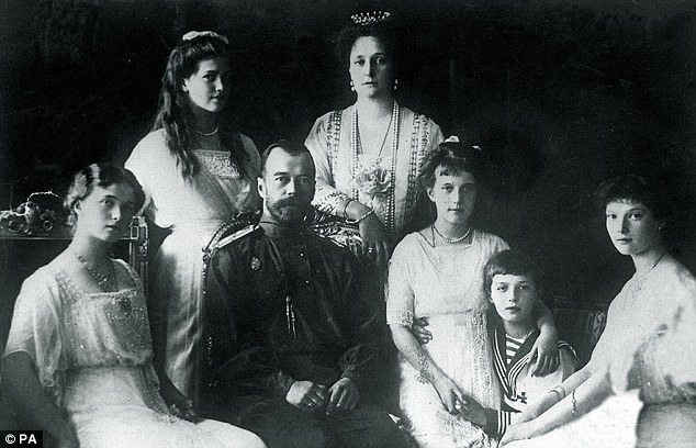Romanov dynasty: Tsar Nicholas II with his wife Tsarina Alexandra (back right), their son and four daughters