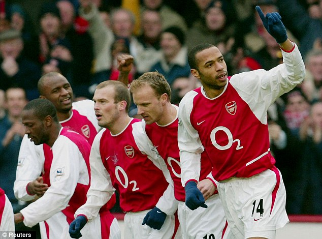 Invincible: Bergkamp was part of Arsenal's unbeaten Premier League-winning side of 2003-04