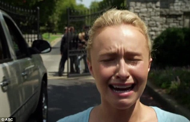 Tears: In the clip, Hayden also burst into tears as her on-screen mother is seen getting arrested by police