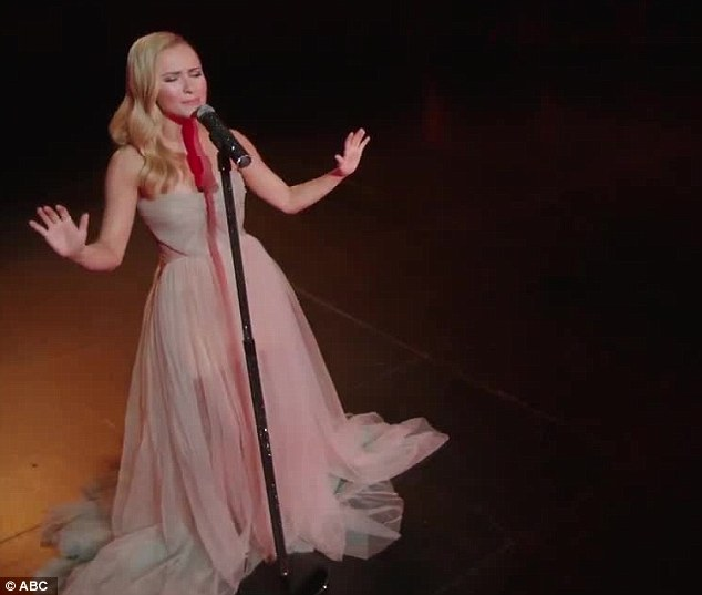 Getting into character: In Nashville Hayden plays rising teen star Juliette Barnes, who rivals 'Queen of Country' Rayna Jaymes, played by Connie Britton
