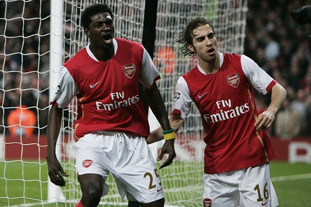 Red and white: Adebayor was vilified after he chose to quit Arsenal for Manchester City