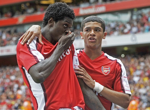 Sealed with a kiss: Adebayor lost the trust of the Arsenal faithful after a summer in which they deemed he attempted to manufacture a move away from the club