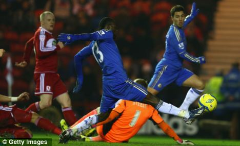 Into the next round: Victor Moses (centre) scored as Chelsea booked a tie with Manchester United in the quarter-final of the FA Cup