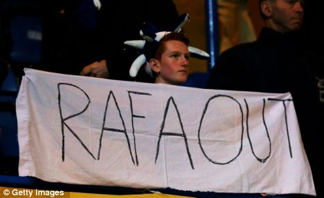 Boo boys: Chelsea fans have been against the appointment of benitez since he first arrived at the club