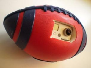 The specially adapted American football has a built in camera to record footage as it is thrown