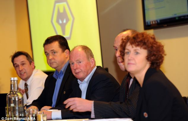 Forum: Wolverhampton Wanderers owner Steve Morgan (centre) and the club's CEO Jez Moxey (second from left) spoke at a fans' Parliament on Wednesday night