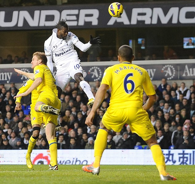 Head boy: Adebayor hasn't scored for Spurs since this goal against Reading on New Year's Day