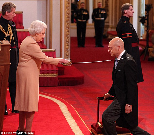 Arise: Sir Dave Brailsford, who masterminded Team GB's cycling success, received his knighthood