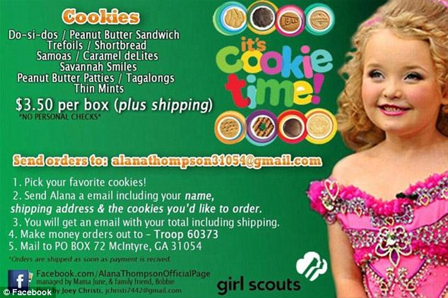 Cookie time: Honey Boo Boo, pictured, who isn't even a scout but was selling cookies on her Facebook page for her friend Dezzy, posted this ad, pictured