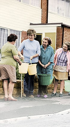 Drought: Women collecting water from a standpipe in the summer of 1976