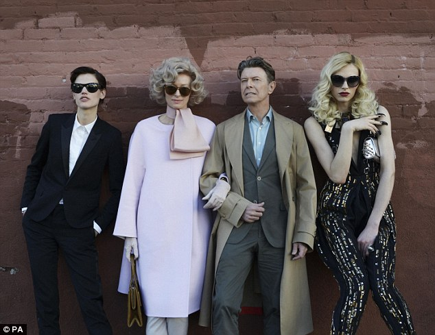 The unusual suspects: David Bowie  Tilda Swinton (second left), Andrej Pejic (left) and Saskia De Brauw (right) star in a short film for new song The Stars (Are Out Tonight)