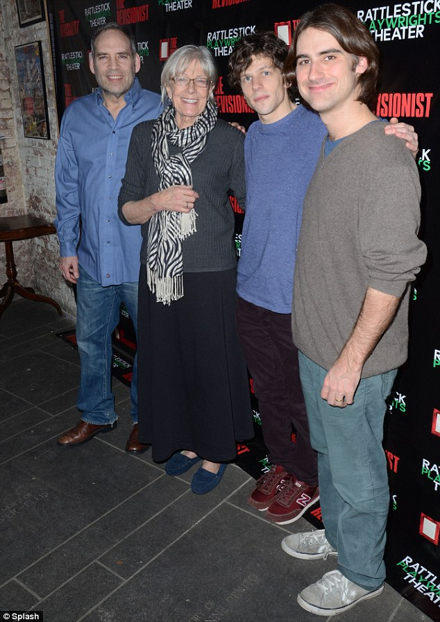 Behind-the-scenes: The Revisionist cast, from left to right, Daniel Oreskes, Vanessa Redgrave and Jesse Eisenberg, with director Kip Fagan