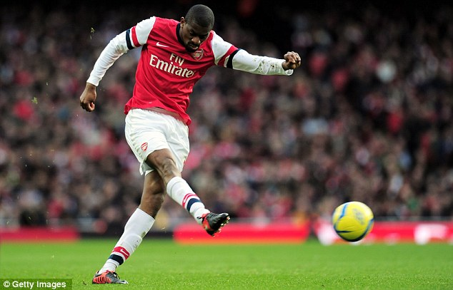 A 50/50 chance: Diaby is doubtful for Sunday's north London derby