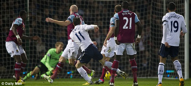 Opening salvo: Bale's first goal against West Ham on Monday